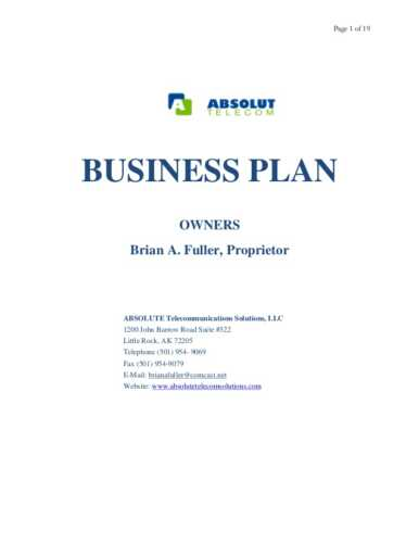 Business Plan to Install an Optic
